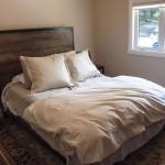 wooden bedframe bedroom